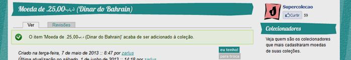 Após clicar no botão, uma mensagem passa a aparecer na tela confirmando que o item foi corretamente adicionado à sua coleção. O botão passa a aparecer permanentemente na cor verde.