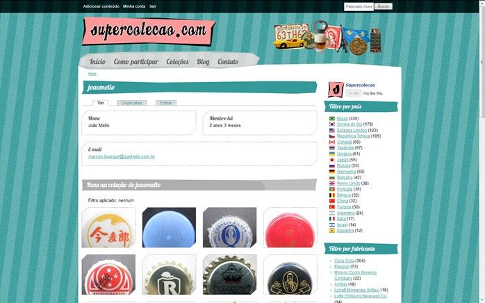 A página do colecionador mostra todos os itens registrados em sua coleção, tanto aqueles que ele mesmo submeteu, quanto aqueles que ele marcou com o recurso